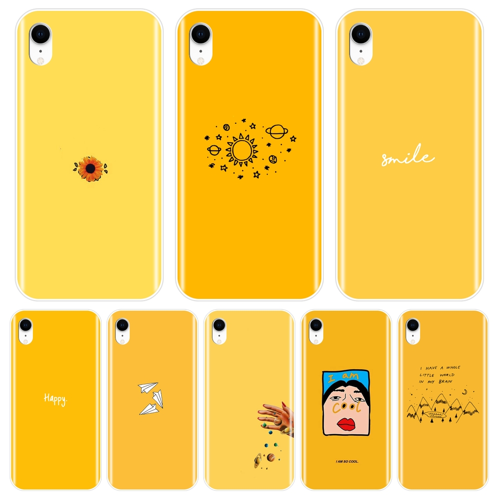 Back Cover For <font><b>iPhone</b></font> X XR XS MAX 8 7 <font><b>6S</b></font> 6 S Soft Silicone <font><b>Yellow</b></font> Space Star <font><b>Case</b></font> For Apple <font><b>iPhone</b></font> 8 7 <font><b>6S</b></font> 6 S Plus <font><b>Phone</b></font> <font><b>Case</b></font> image
