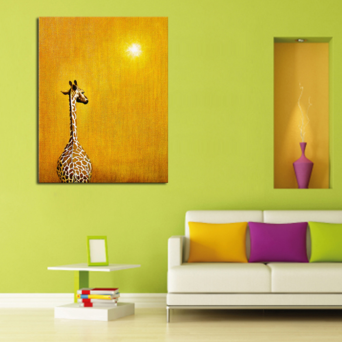 100% Handpainted Giraffe InThe Sunset Hang Pictures Modern Wall Art Abstract Animal Pictures Oil Painting On Canvas home Decor