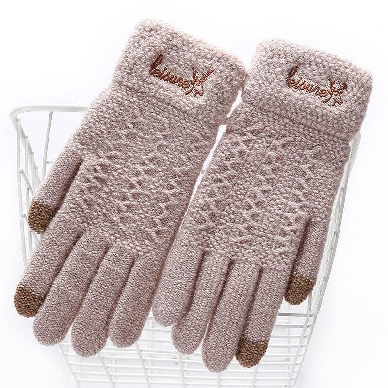Women Warm Gloves Winter Casual Sweet Elegant Preppy Mitten Touch Screen Wrist Female Fashion Cute Animal Green Gloves