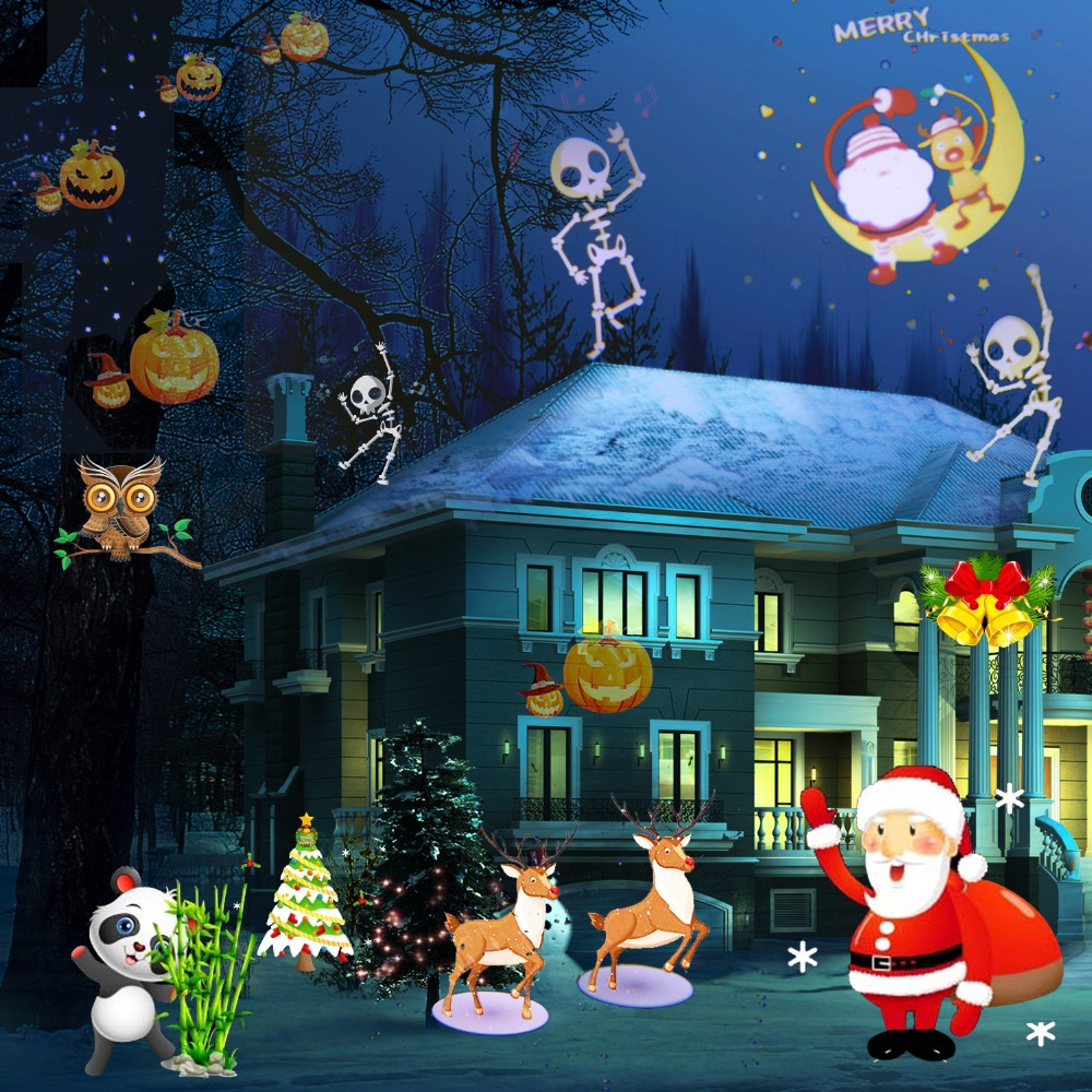 28c8ea77b3c 12 patrones de Navidad LED proyector láser impermeable IP65 de jardín al  aire libre del proyector láser foco Disco luces de Navidad con control  remoto