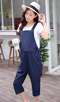 Women S Capris Overall Maternity Plain Jumpsuit Loose Rompers Baggy Pants Pregnancy Bib Jeans Size L