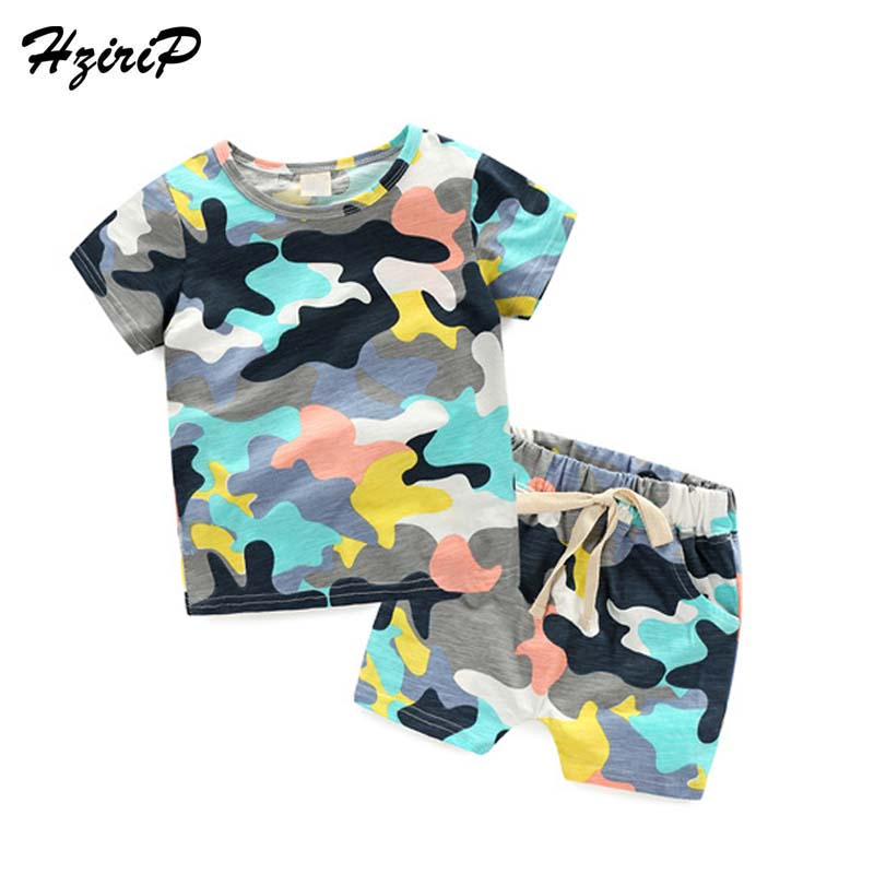 HziriP 2017 Baby Boys Girls Clothes Set Fashion Camouflage Printing Sports Suit T-shirt + Shorts Pant Two-piece Kids Clothes