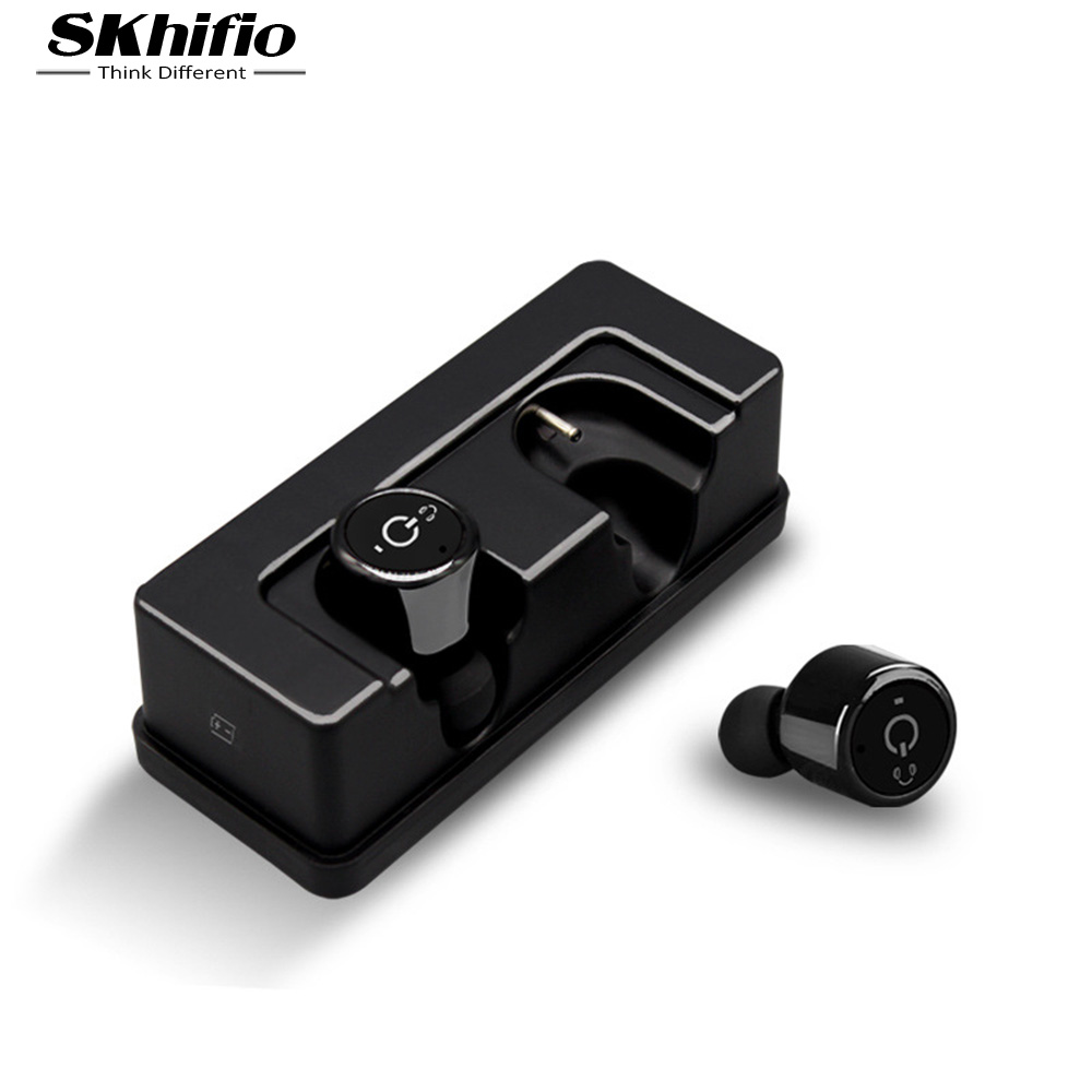 SKhifio Twins True Wireless Bluetooth Earphone Mini Invisible Cordless TWS Bluetooth 4.2 Earbuds Headset X1T with Mic for Phone mini twins true stereo bluetooth earphone headphones headset tws wireless bluetooth handfree earbuds with charge box for iphone7