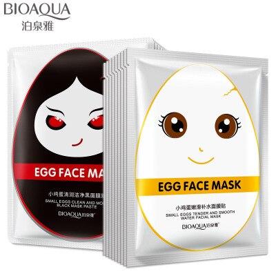 10 pcs BIOAQUA Eggs Facial Mask Moisturise Revitalizing Silk Mask Shine Bright Whitening Beauty Cream Face Mask Korean Skin Set Facial mask