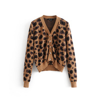 KISBINI New Leopard Partten Cardigans Sweater For Women Spring Autumn Fall Warm Long Sleeve Knitted Sweater Clothes