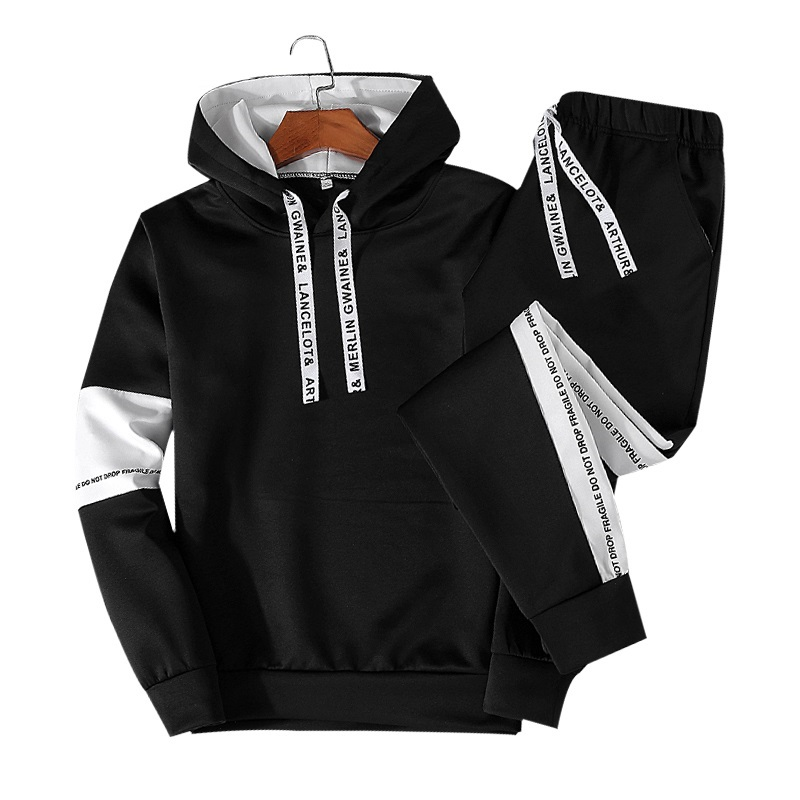 ASALI Autumn 2PCS Tracksuit Men Casual Patchwork Mens Sportwear Set Hoodies Pants Sets Male New Fashion Hoody Suits Letter Print - Цвет: 738 Black
