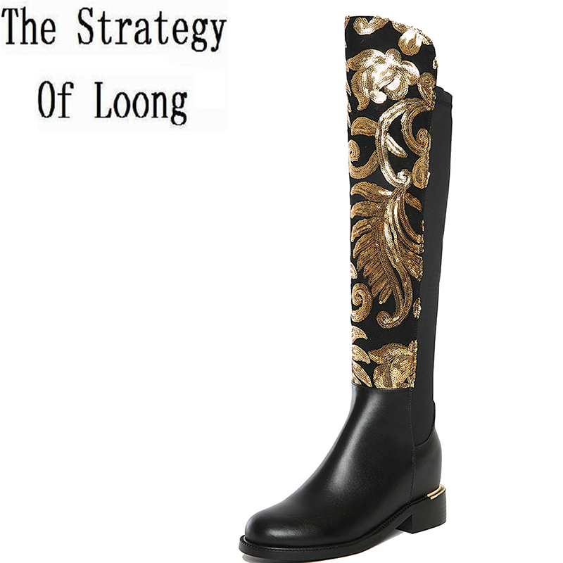 2016 Winter New Arrival Women Long Boots Genuine Leather Lady Round Toe Flowers Knee High Hoof Heels Low Heels Plus Size 2017 new arrival winter plush genuine leather basic women boots knight zipper round toe low heel knee high boots zy170904