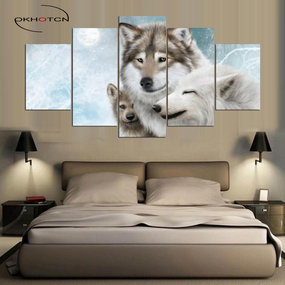 OKHOTCN 5 Panneaux HD Imprimé Modulaire Peinture Maternelle Amour Loup Impression sur toile Art Moderne Home Decor Wall Art Image Pour chambre