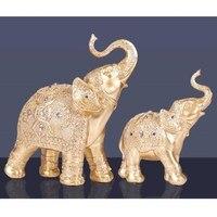 Lucky Elephant Figurine Art Sculpture Loving Animal Statues Resin Crafts Home Decoration Accessories 2Pcs/set R533