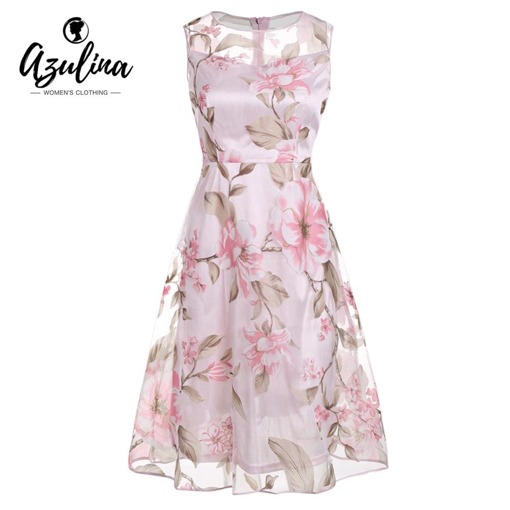 AZULINA pink floral print women dress sleeveless o neck 2017 summer casual female vestido robe femme mesh dresses with lining