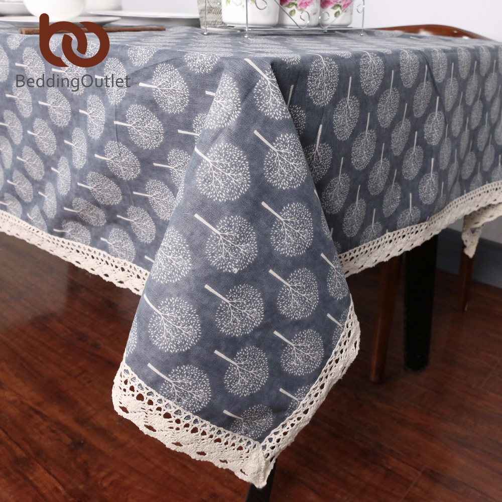 BeddingOutlet Tree Table Cloth Decorative Cover Cotton Linen Tablecloth With Lace For Kitchen Dinning Living Room 9 Sizes