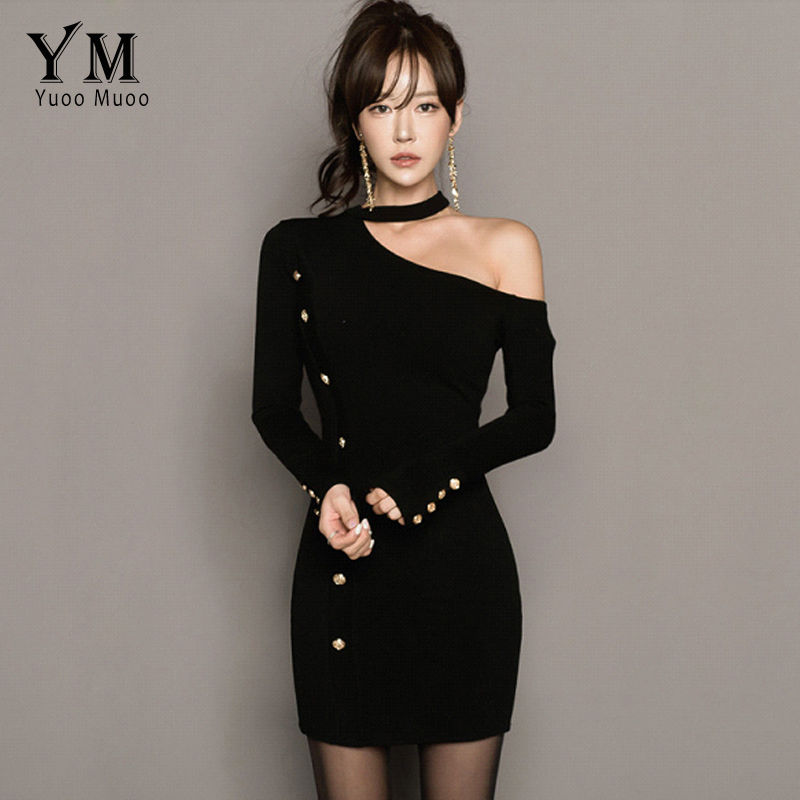 YuooMuoo Halter Sexy Women Dress Buttons Design Knitted Black Mini Dress Vesitods Off Shoulder Long Sleeve Short Bodycon Dress black sexy cold shoulder halter design long sleeves blouse