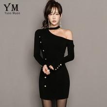 Yuoomuoo Холтер сексуальное женское платье Пуговицы Дизайн вязаный черный мини-платье vesitods с плеча с длинным рукавом Короткое платье футляр