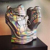 Необычный стиль, каблук вечерние, крутые, вечерние, Клубные, серебряные, ботильоны, шнуровка, застежка липучка, дизайн, женские короткие боти