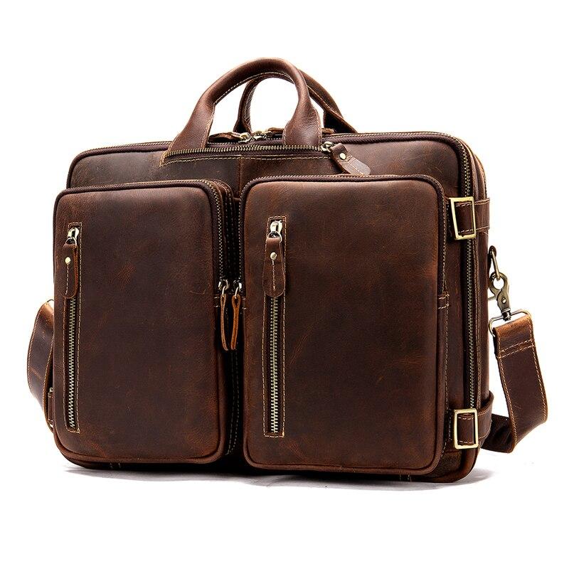 Crazy Horse Leather Men's Leather Briefcases Man Shoulder Messenger Bag 15 Inch Laptop Bag Multifunction Vintage Travel Bag 50