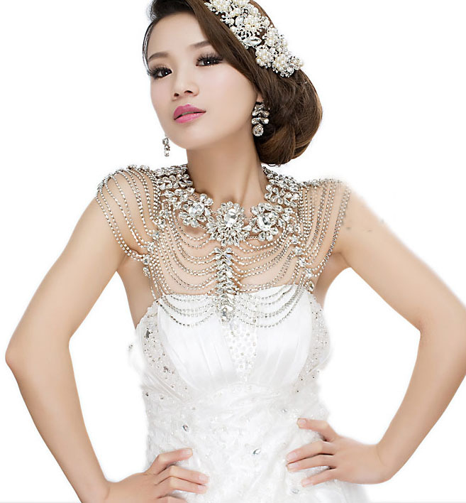 Vintage Luxury Wedding Jewelry Long Crystal Necklace Chains Bridal Shoulder Strap Jewellery Chain Accessories For Women цена