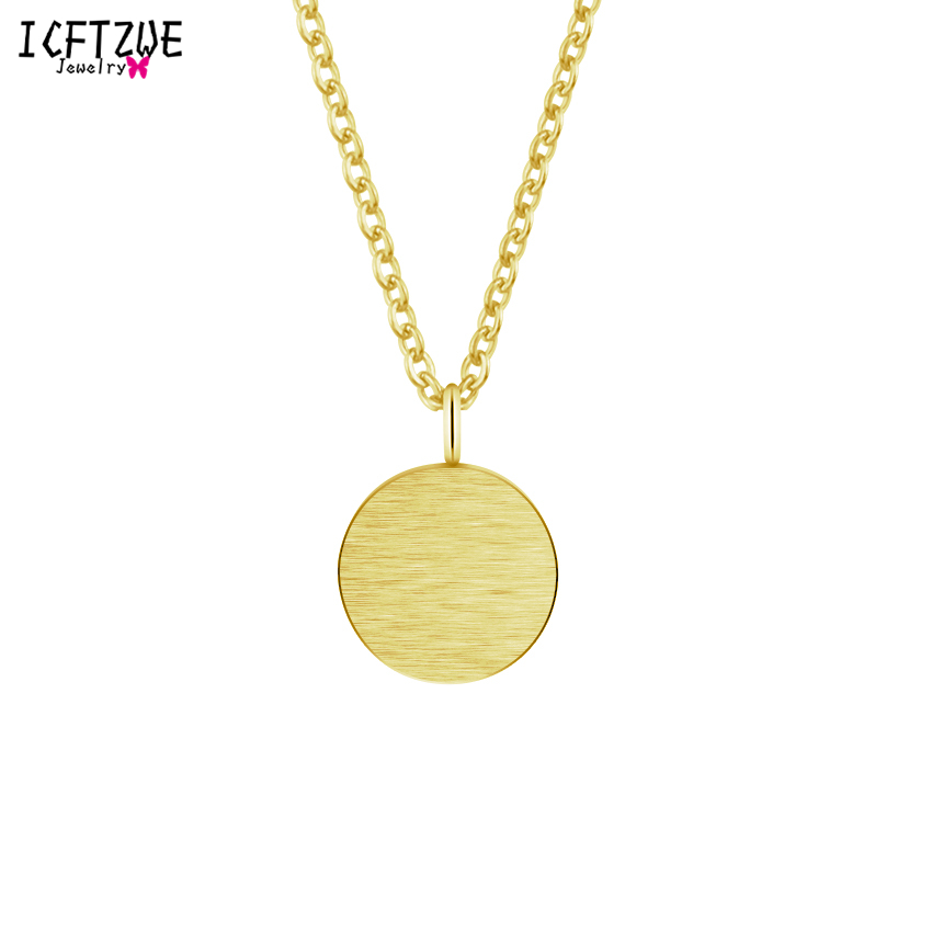 Stainless Steel Silver Colares Simple Karma Circle Pendant Gold Colar Geometric Chain Necklaces for Women Bridesmaid Gift