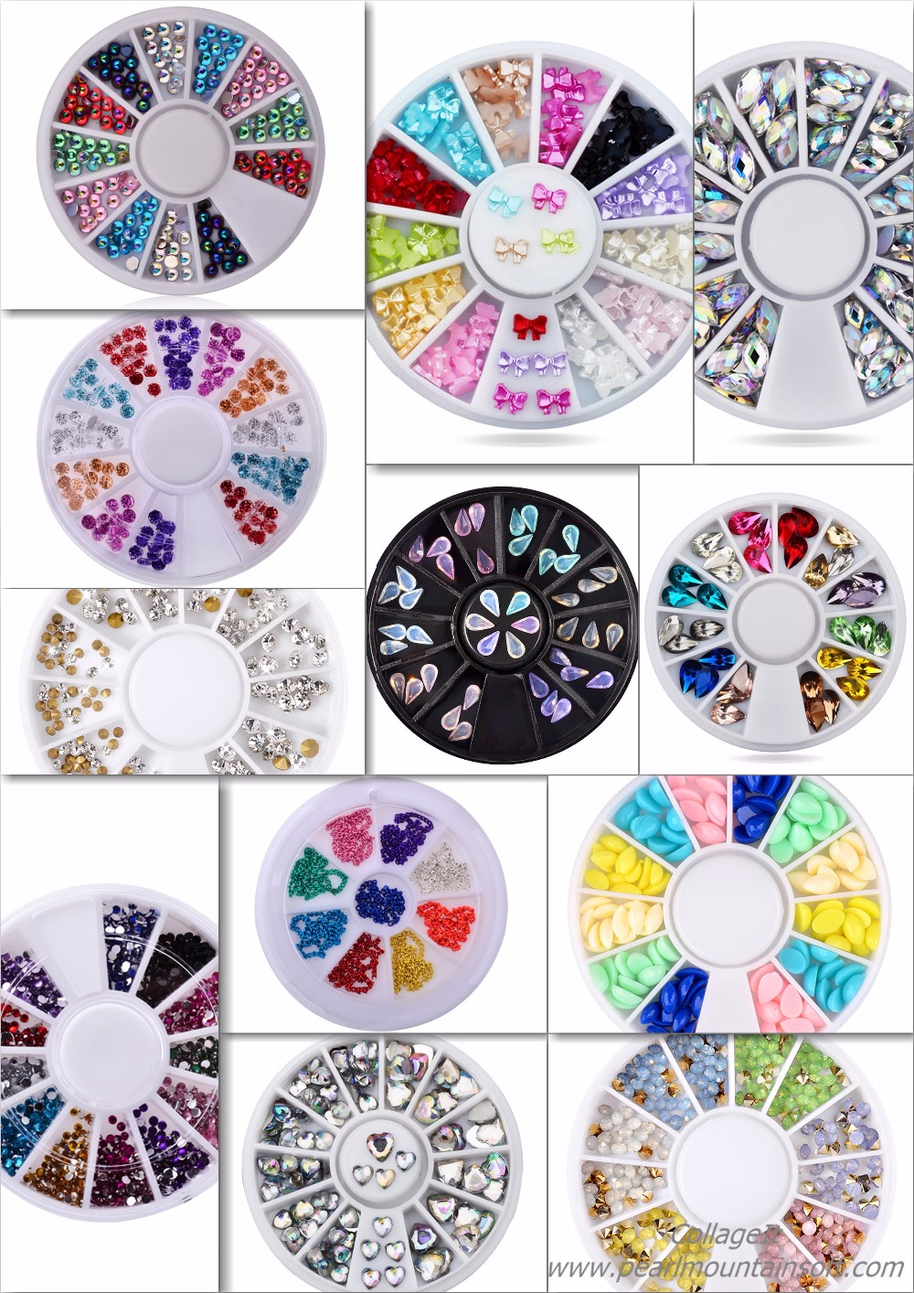3D 6cm Cystal Colourful Nail Art Decoration Wheel,Acrylic Resin Jelly Nail Art Rhinestones Different shapes Manicure Supplies