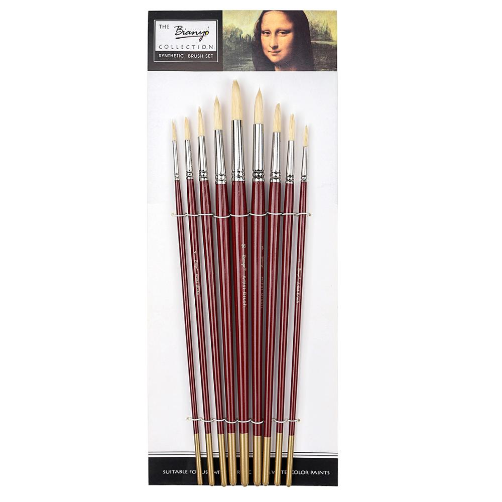 9Pcs Round Head Oil Paint Brush Different Size Solid Wood for Artist Drawing Oil Acrylic Watercolor Painting Brush Art Supplies in Paint Brushes from Office School Supplies
