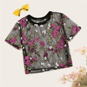 Fleur Floral Sheer Mesh Top