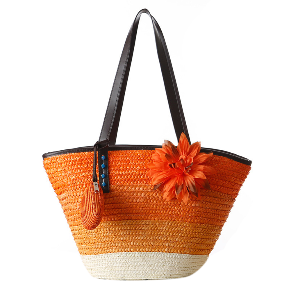 5) Knitted Straw bag Summer flower Bohemian fashion women's handbags color stripes shoulder bags beach bag big tote bags(Orange) handmade flower appliques straw woven bulk bags trendy summer styles beach travel tote bags women beatiful handbags