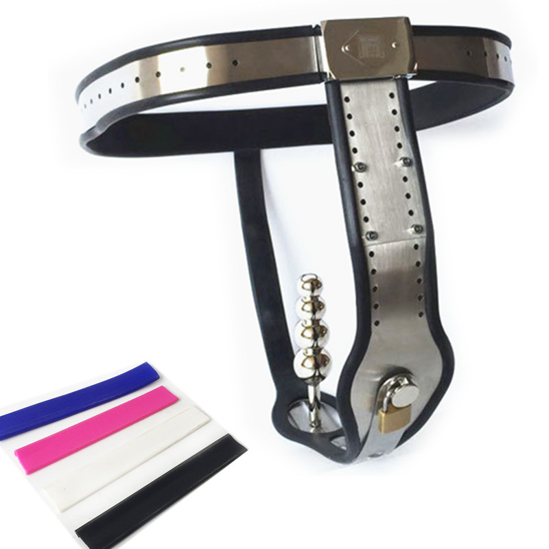 Stainless Steel Chastity Belts Adjustable Waist T type Chastity Device with Anal Plugs Chastity Pants Sex Toys for Women G7 5 44