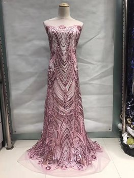 Beautiful Sequins Tulle Lace Fabric with High Quality African with Embroidery 2019 Popular Lace Fabric For Wedding JL035