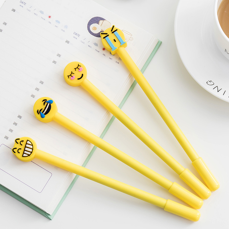 DL Creative stationery cute expression neutral pen creative cartoon smiling face silica gel 0.5mm black pen core student article