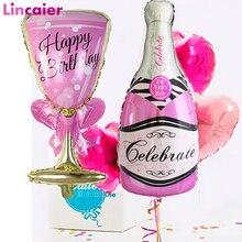 Big Champagne Bicchiere di Vino Bicchiere di Whisky Aerostati della Stagnola Decorazione Felice Festa di Compleanno Per Adulti Rifornimenti Del Partito di Nozze 18 21 25 30 40 50 60