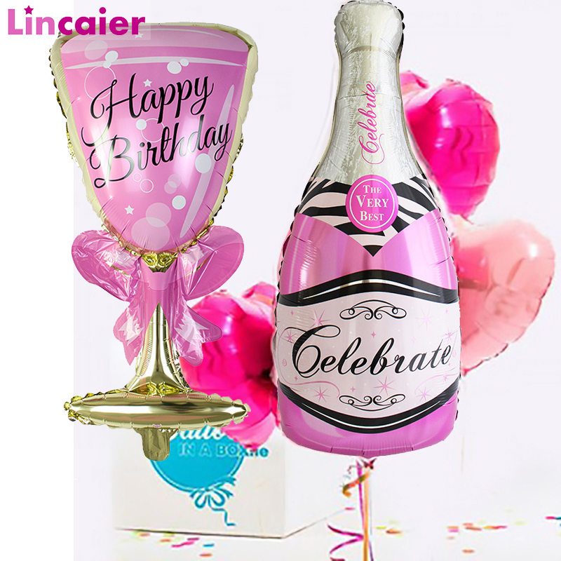 Big Champagne Wine Cup Whiskey Foil Balloons Happy Birthday Party Decoration Adult Party Supplies 18 21 <font><b>25</b></font> <font><b>30</b></font> 40 50 60 image