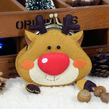 Christmas Elk Style Felt Coin Wallet Cute Handbag Felt DIY Package Handmade Sewing Small Coin Purse for Children Christmas Gift(China)