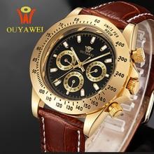 OUYAWEI Mode En Cuir Mécanique Montres Montre en Or Mens Watch Top Marque De Luxe Montre Homme Horloge Hommes montre-Bracelet Automatique