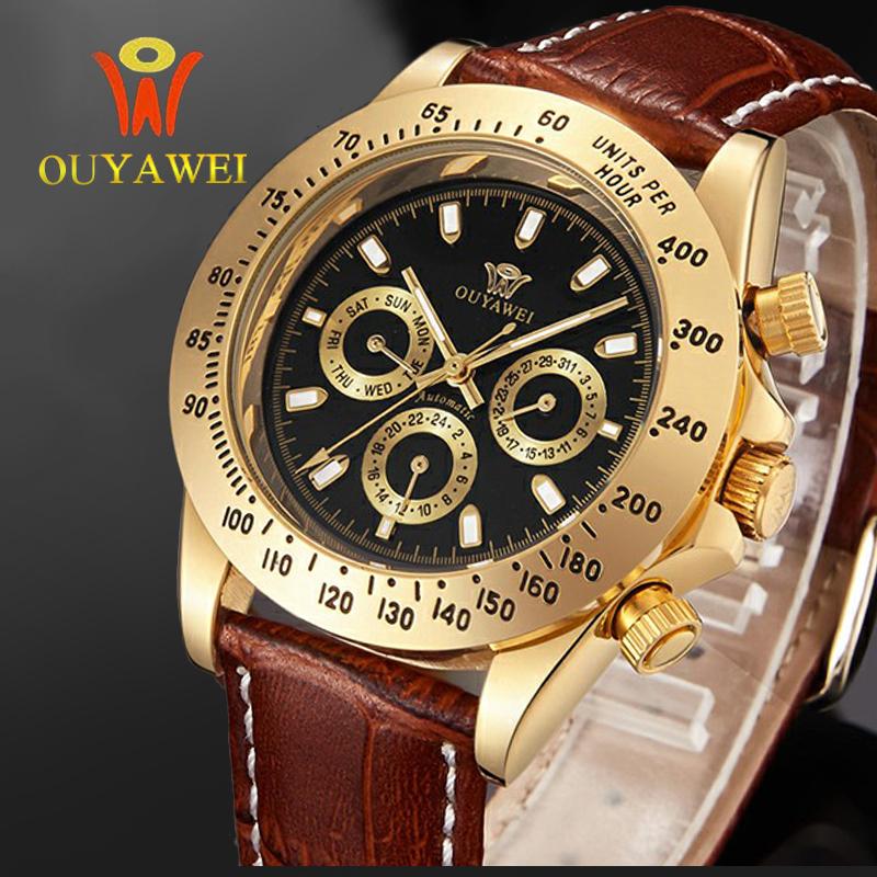 Prix pour Ouyawei mode en cuir mécanique montres montre en or mens watch top marque de luxe montre homme horloge hommes montre-bracelet automatique
