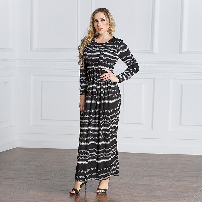 4f3ae66312 New Arrival Muslim Islam Summer Casual Cotton Long Dresses O Neck Stripe Long  Sleeves Abayas Dubai Turkish Clothing 5077-in Islamic Clothing from Novelty  ...