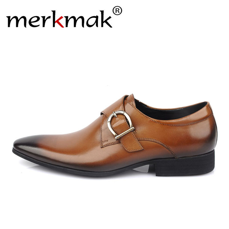 Merkmak Solid Trendy Leather Shoes Men Loafers Slip On Casual Dress Shoes Male Big Size 38-48 Metal Design Comfortable Man FlatMerkmak Solid Trendy Leather Shoes Men Loafers Slip On Casual Dress Shoes Male Big Size 38-48 Metal Design Comfortable Man Flat