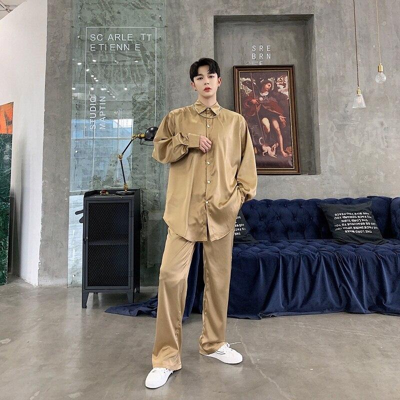 Men Satin Style Thin Casual 2 Sets (shirt+pant) Male Women Vintage Fashion Streetwear Hip Hip Long Sleeve Shirts Harem Pants