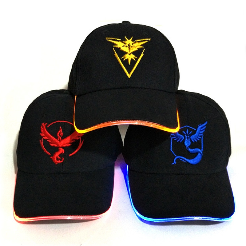 GO baseball cap Pokemon game themed LED fiber cap Pokemon GO hat 2017 Halloween Carnival LED lights men and women hat
