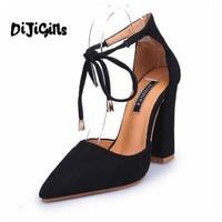 6 색 뾰족한 끈으로 펌프 섹시한 복고풍 높은 두꺼운 발 뒤꿈치 신발 2108 새로운 여성 신발 여성 신발 레이