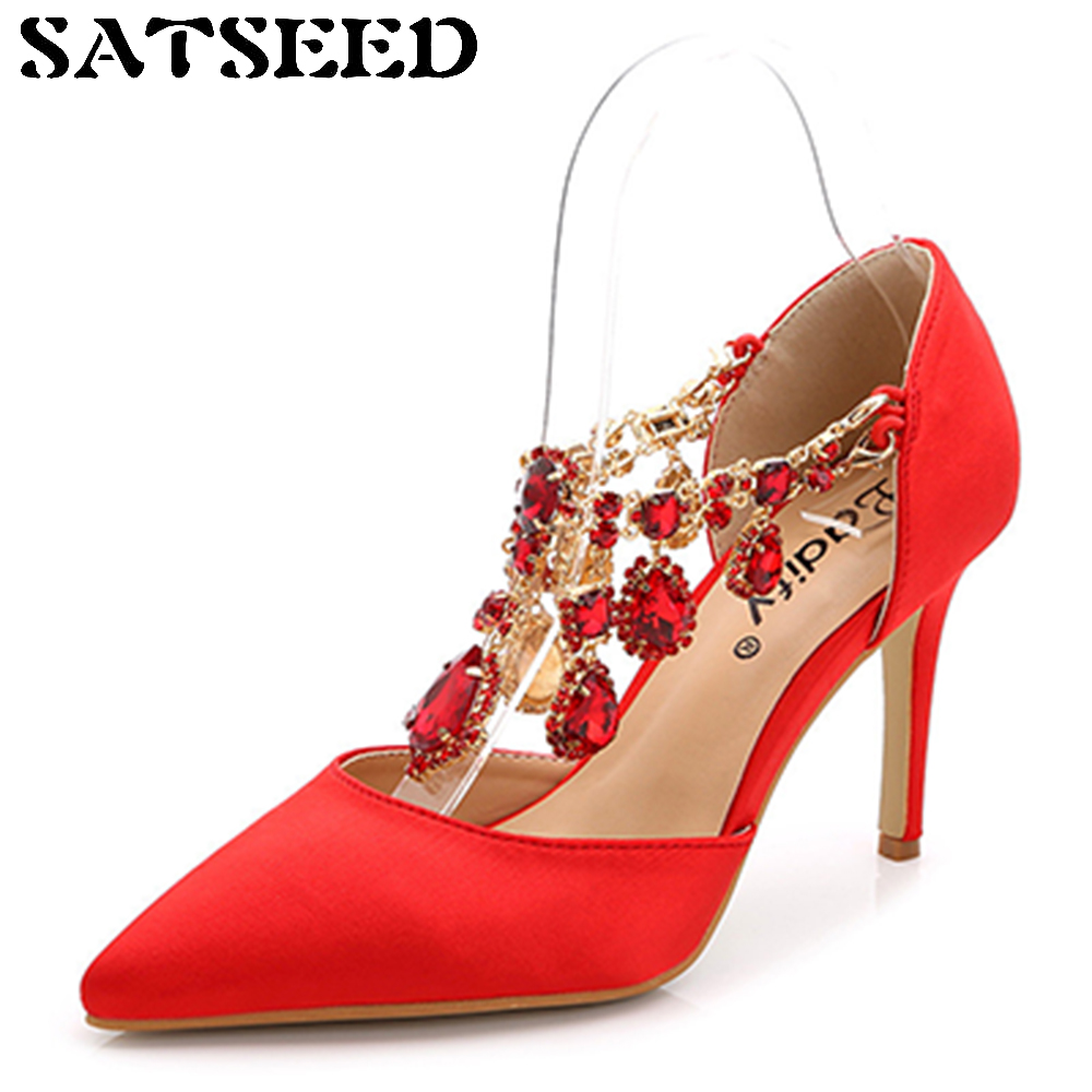 2017 New Spring Super High-heeled Thin Shoes Fine Diamond Wedding Women Shoes Red Satin Pumps Pointed Toe Slip On Casual Fashion cresfimix women cute spring summer slip on flat shoes with pearl female casual street flats lady fashion pointed toe shoes