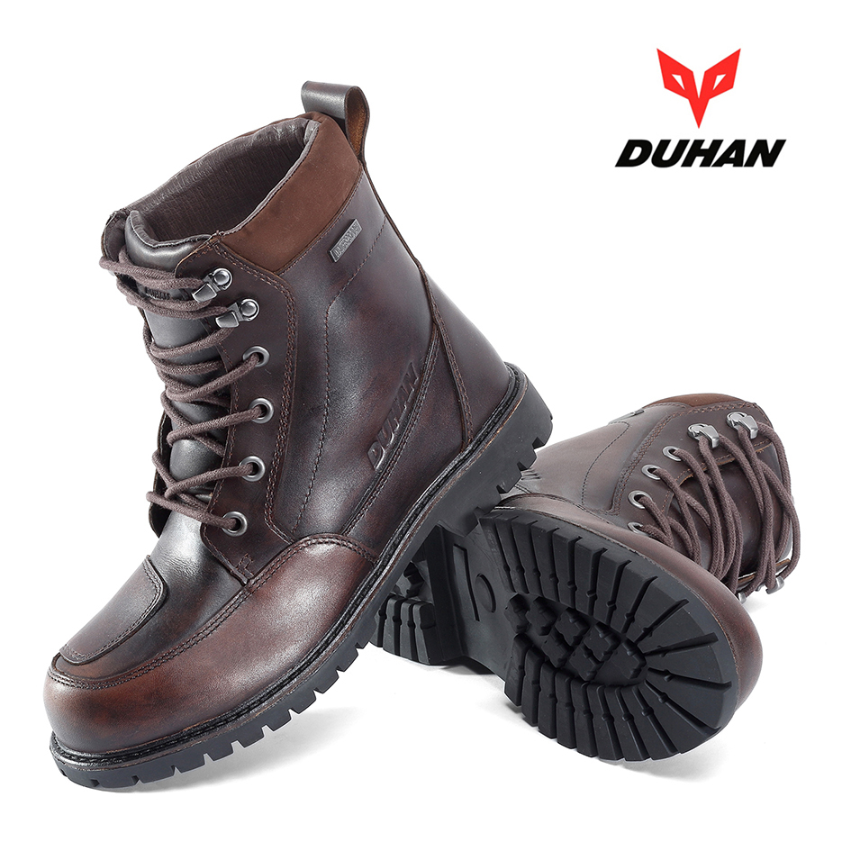 DUHAN Motorcycle Boots Men Waterproof Moto Boots Outdoor Motocross Leather Motorcycle Shoes Moto Vintage Ankle Boots