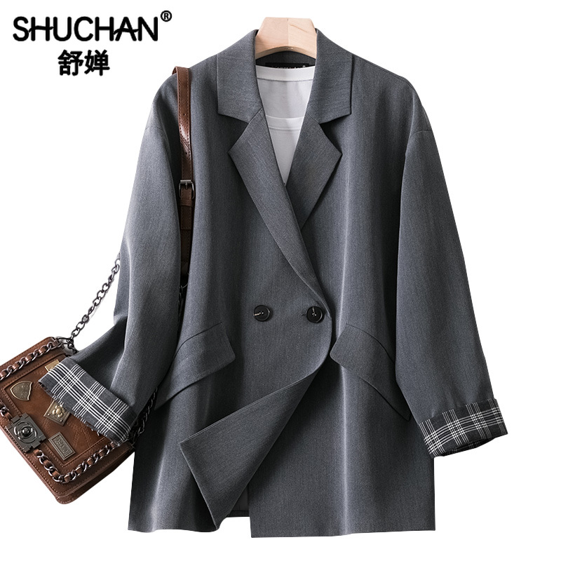 Shuchan Woman Blazer 2019 Double Breasted Gray  Notched Loose Feminino Fashion Womens Tops Casual