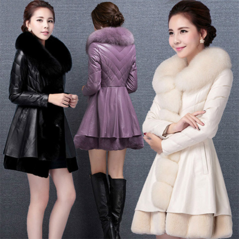 jacket for pregnant Women Long LeatherPU Jacket Coat Female Fashion Big Fur Collar Thick Plus Cotton Slim Plus Size Windbreake new women winter down cotton long style jacket fashion solid color hooded fur collar thick plus size casual slim coat okxgnz 910