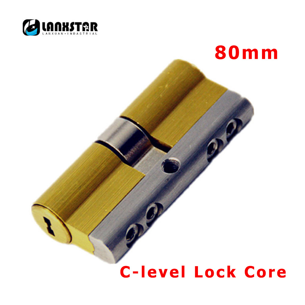 LANXSTAR 80mm Super C Grade Stainless Steel Brass Anti-theft Door Lock Core Security 8Keys Door Cylinder c-level Lock Cores hot 65mm super c type eight orbit lock cylinder prevent torsion violence tinfoil steel shell anti theft lock for home use