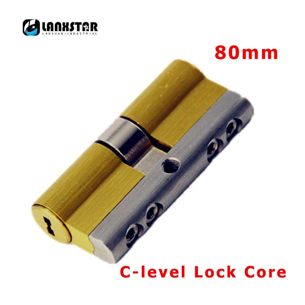 LANXSTAR 80mm Super C Grade Stainless Steel Brass Anti-theft Door Lock Core Security 8Keys Door Cylinder c-level Lock Cores цена