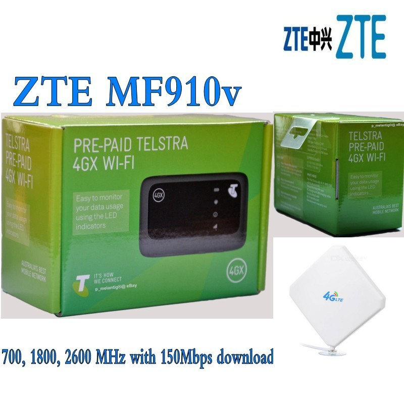 ZTE-MF910-LTE UNLOCKED Wi-Fi Hotspot Modem+4G 35dbi TS9 antenna