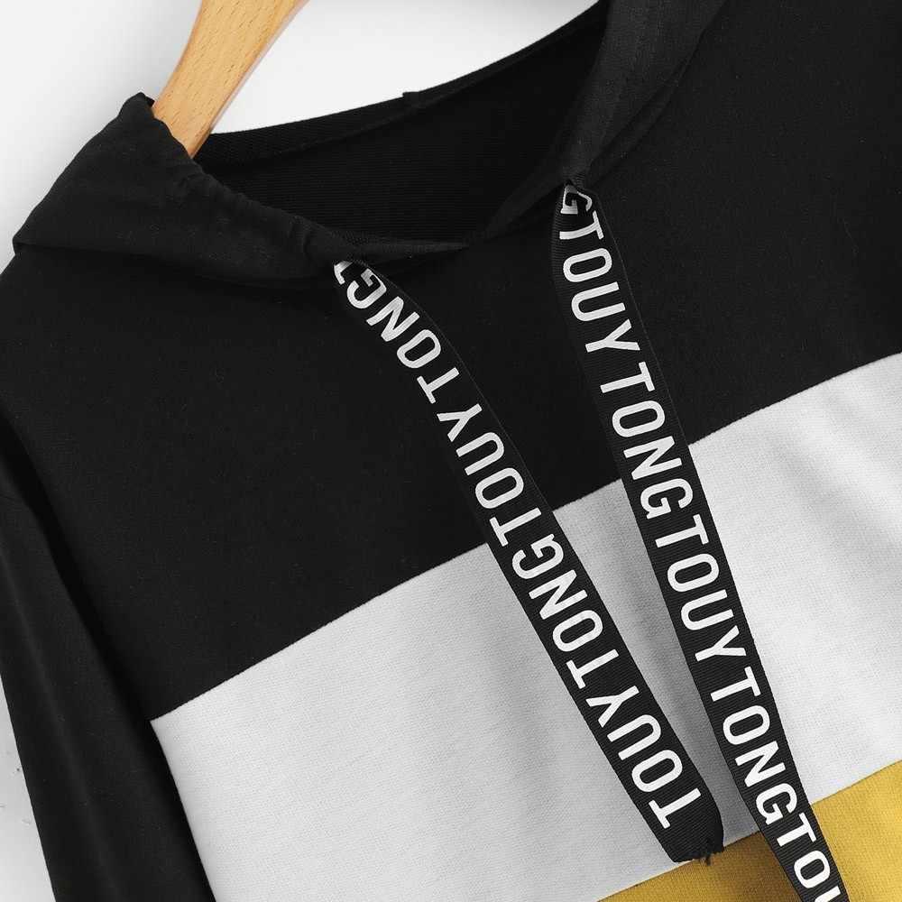 Harajuku sweatshirt hooded hoodies autumn 2018 women streetwear color block hoodie woman hip pop clothing cropped