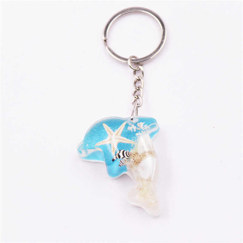 Sáng Cá Heo Vỏ Thực Sự Sao Biển Keychain Cát Vòng Chìa Khóa Handmade Phát Sáng Trong Bóng Tối Đính Lưu Niệm Quà Tặng Carabiner đối với Phím