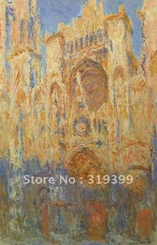 Linen canvas Oil Painting Reproduction,Rouen Cathedral, Facade (Sunset) by Claude Monet , 100% handmade,Free DHL ,Museum Q