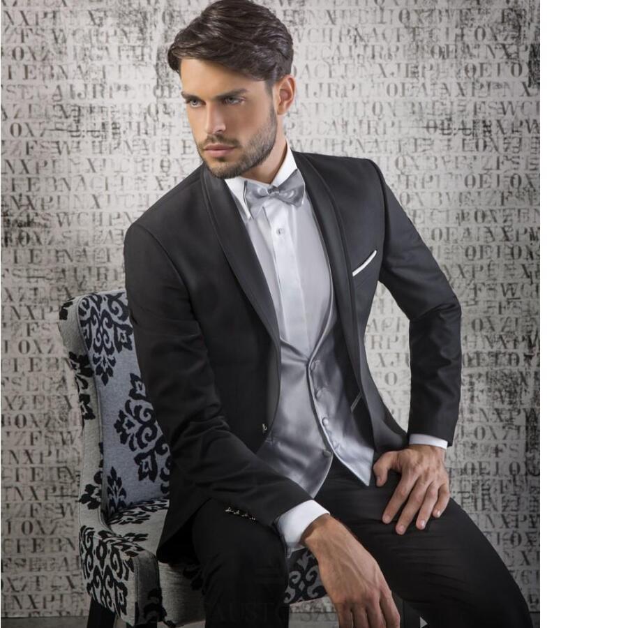 hot sell men suit Black Groom Tuxedos Shawl Lapel Best Man Wedding Christmas Prom Dinner Suits(Jacket+Pants+Vest+Tie)