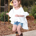 2017 Novas Roupas de Verão Meninas Sólido Branco Assimétrico Ruffles Vestido de Camisa Moda Vestuário Traje Para As Crianças As Crianças Como Presente